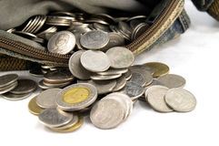 Taillezak met Thaise muntstukken Royalty-vrije Stock Afbeeldingen