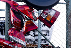 Taillights in the Junkyard Stock Image
