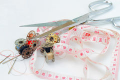 Tailor accessories. Tailor accessories on the table Royalty Free Stock Photo