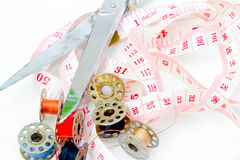 Tailor accessories. Tailor accessories on the table Stock Photography