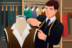 Tailor adjusting clothes on a mannequin. A vector illustration of tailor adjusting clothes on a mannequin Royalty Free Stock Image
