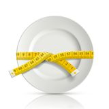 Tailor centimeter around the plate Royalty Free Stock Image
