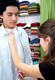 Tailor and clothes shopper Royalty Free Stock Photos
