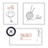 Tailor, cotton and wool products emblems set Royalty Free Stock Image