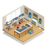 Tailor Atelier Isometric Composition. Tailor cutting out fabric for sewing clothes in fashion atelier interior tools and supplies isometric vector illustration Stock Photos