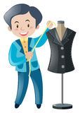 Tailor cutting and sewing clothes Stock Photos