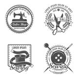 Tailor Detail Emblem Set. Tailor detail emblem or label set with descriptions of tailor shop salon and company in different shapes vector illustration Stock Photos
