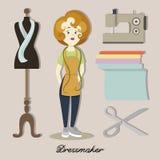 Tailor or dressmaker. Designer atelier woman in dress tailoring salon Royalty Free Stock Images