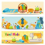 Tailor Elements Horizontal Banners. With cloth sewing machine scissors thimble spools needles threads meter hanger buttons mannequin vector illustration Stock Image