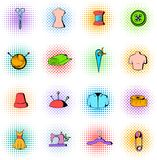 Tailor elements icons set, comics style. Tailor elements icons set in comics style on a white background Stock Illustration