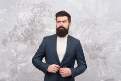 Tailor or fashion designer. elegant man with beard. Male fashion model. Mature businessman. Modern life. Brutal bearded. Hipster in formal suit. Grooming of royalty free stock image