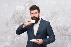 Tailor or fashion designer. Male fashion model. Mature businessman. elegant man with beard drink coffee. Modern life. Brutal bearded hipster in formal suit royalty free stock photo