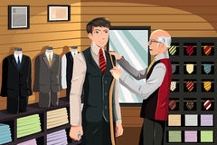 Tailor fitting for suit vector illustration