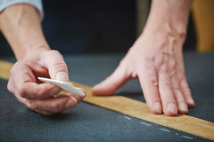 Tailor hands with chalk royalty free stock images