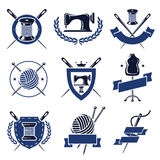 Tailor labels set. Vector. Clew, set, shop, elements Royalty Free Stock Photography