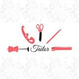 Tailor logo banner vector illustration. EPS10 inky on white background Royalty Free Stock Photo