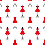 Tailor mannequin in red dress. Seamless pattern. Royalty Free Stock Photos