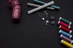 Tailor materials on the balck background stock images