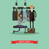 Tailor measuring his man client to make custom suit. Men fashion concept. Vector illustration banner in flat style Stock Photos