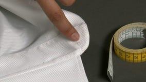 Tailor Measuring Man Shirt Collar stock footage