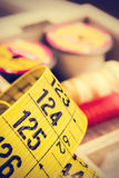Tailor measuring tape close up. stock photo