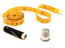 Tailor meter, thimble stock photo