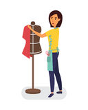 Tailor profession. Clothing designer woman with mannequin. Royalty Free Stock Photos
