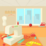 Tailor room concept, cartoon style Royalty Free Stock Photography