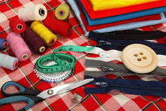 Tailor's tools on bright background Royalty Free Stock Photos