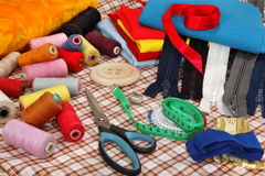 Tailor's tools on bright background Royalty Free Stock Photography