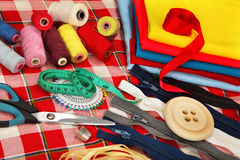 Tailor's tools on bright background Stock Photography