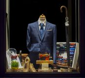 Tailor`s window - 2. New elegant jacket stitching in tailor`s showcase royalty free stock image