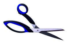 Tailor scissors. Tailor black and blue scissors Stock Images