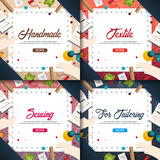 Tailor and seamstress banner. Sewing kit. Needlework, handmade. Dressmaking concept. Tailor and seamstress banner. Sewing kit. Needlework, handmade Dressmaking Stock Photography