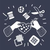 Tailor seamstress fashion designer needlework lessons team hands vector illustration Royalty Free Stock Image