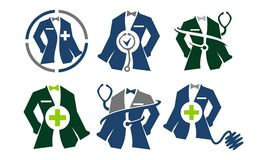 Tailor Service Set医生的衣物 免版税库存照片