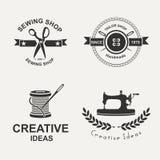 Tailor. Set of tailor labels, emblems and design elements. Tailor shop. Logo Stock Photos