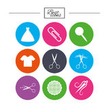 Tailor, sewing and embroidery icons. Scissors. Tailor, sewing and embroidery icons. Scissors, safety pin and needle signs. Shirt and dress symbols. Classic Royalty Free Stock Photography