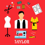Tailor with sewing flat icons Royalty Free Stock Image