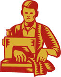 Tailor Sewing Machine Woodcut Royalty Free Stock Photos