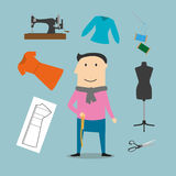 Tailor with sewing tools icons. Tailor profession concept design with elegant man surrounded by sewing machine and mannequin, scissors and needle, threads and Stock Image