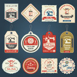 Tailor shop badges labels icons set Royalty Free Stock Photos