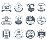 Tailor shop black labels icons set Royalty Free Stock Image