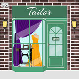 Tailor shop building. Tailor store. Atelier. Facade of brown stone. Dummy in evening dress and treadle sewing machine in window. Vector illustration. EPS 10 Stock Image
