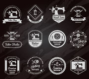 Tailor shop chalkboard labels icons set vector illustration