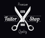Tailor shop salon scissors and sewing stitch premium vector. Tailor shop logo template. Dressmaker atelier and fashion dress tailoring designer salon vector icon Stock Illustration