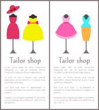 Tailor Shop Pages Collection Vector Illustration. Tailor shop pages collection, dresses and hats, suit consisting of blouse and skirt, tailor shop and text Royalty Free Stock Image