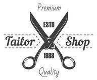 Tailor shop salon vector icon of scissors and premium sewing stitch. Tailor shop or dressmaker atelier and fashion dress tailoring designer salon vector logo Stock Illustration