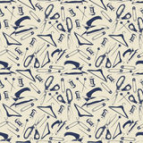 Tailor shop seamless pattern with scissors, iron, pins Royalty Free Stock Images