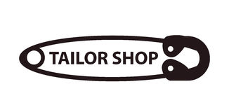 Tailor shop sewing pin logo isolated on white background. Royalty Free Stock Photography